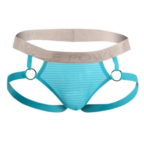Mens Underwear - Front view of Male Power Mesh Rib Ring Jockstrap