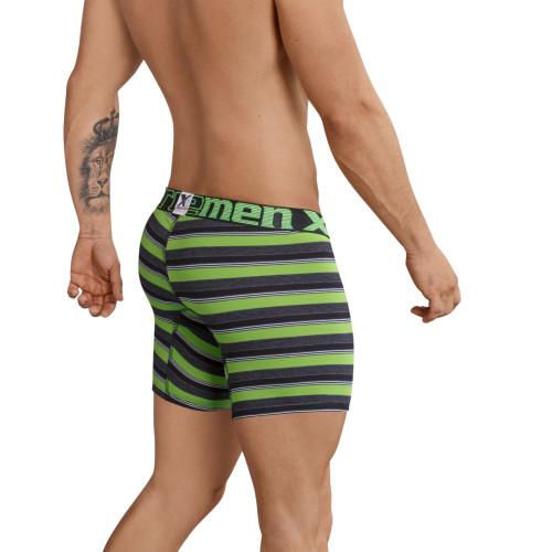 Mens Underwear - Front view of Xtremen Bold Stripes Boxer Briefs - Mens Underwear