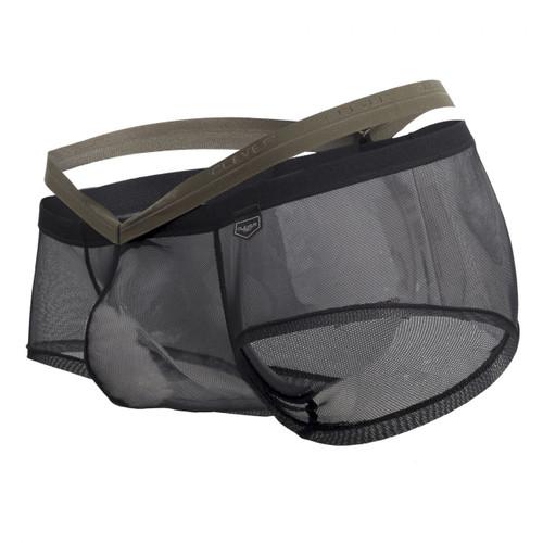 Mens Underwear - Front view of Clever Gorgeous Latin Boxer Briefs - Sheer Mesh Mens Undies