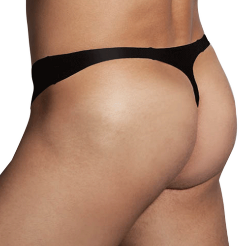 Mens Underwear - Front view of Doreanse Black Hang-loose Thong - Bikini Style Mens Thong