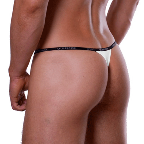 Mens Underwear - Front view of Doreanse White Aire Thong - Classic G-string Mens Thong