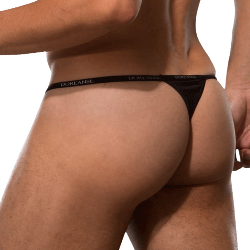 Mens Underwear - Front view of Doreanse Black Aire Thong - Minimal Mens Thong Underwear