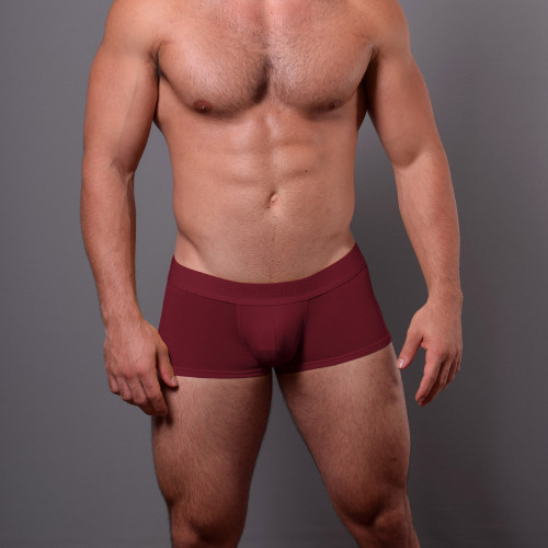 Mens Underwear - Front view of Doreanse Bordeaux Low-rise Trunk - Mens Boxer Underwear in a Rich Red