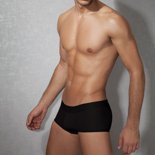 Mens Underwear - Front view of Doreanse Black Low-rise Trunk - Black Mini Trunk Mens Underwear