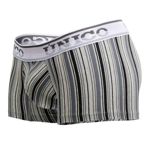 Mens Underwear - Front view of Unico Mind Art Trunks - Stylish Striped Mens Boxer Brief Underwear