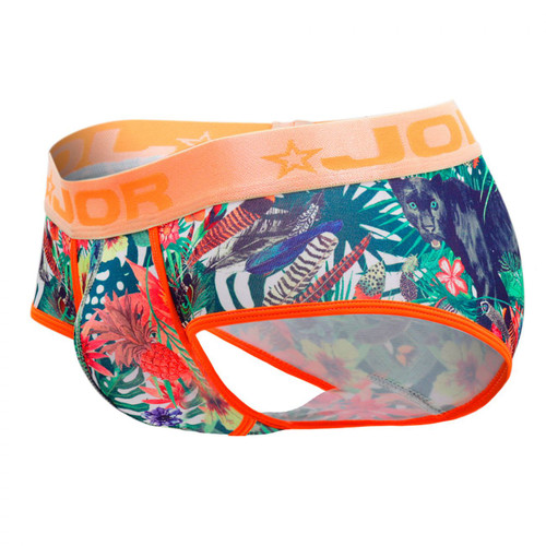 Mens Underwear - Front view of JOR Panther Briefs - Floral Animal Print Mens Brief Style Underwear