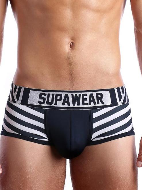 Mens underwear - Front view of Seaman marine striped trunk by SUPAWEAR