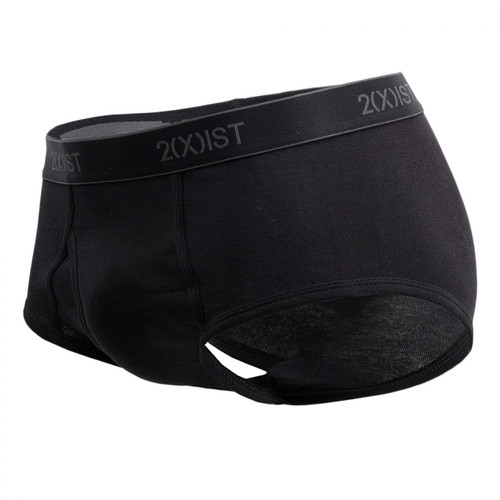 Mens Underwear - Front view of 2(X)IST Essential Cotton Fly Front Brief 3 Pack - Traditional Full Basic Brief with Fly Opening