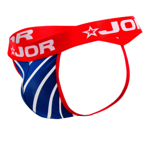 Mens Underwear - Front view of JOR Atlantic Thong - Sexy White and Blue Stripe Male Thong