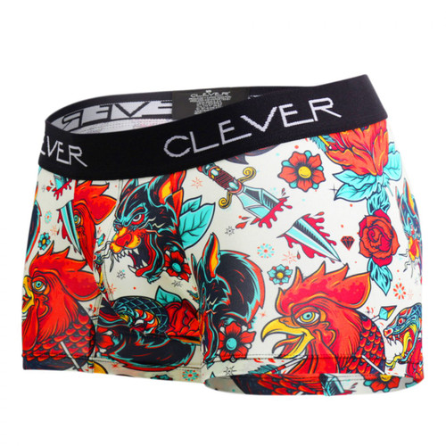Mens Underwear - Front view of Clever Reaction Boxer - Crazy Animal Print Boxer Shorts