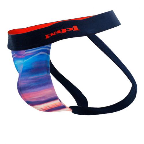 Mens Underwear - Front view of Papi Tropical Paradise Sky Jockstrap - Colourful Mens Fashion Jockstrap