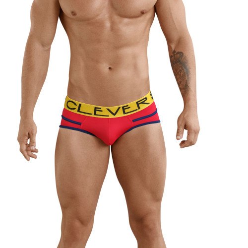 Mens Underwear - Front view of Clever Czech Piping Briefs - Stylish Mens Underwear