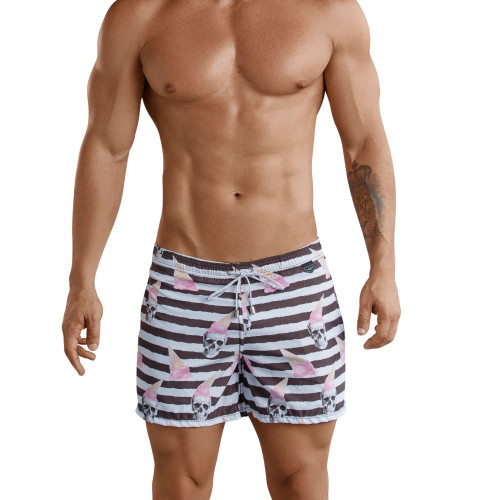 Mens Underwear - Front view of Clever Skulls Atleta Swim Shorts - Striped Mens Swimwear