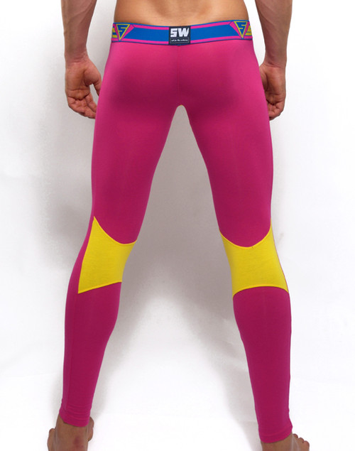 Mens Underwear  - Back view of SUPANOVA galactic pink / yellow leggings by SUPAWEAR