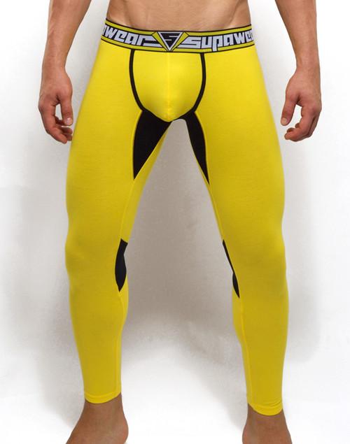 Mens Underwear  - Front view of SUPANOVA hazard yellow leggings by SUPAWEAR