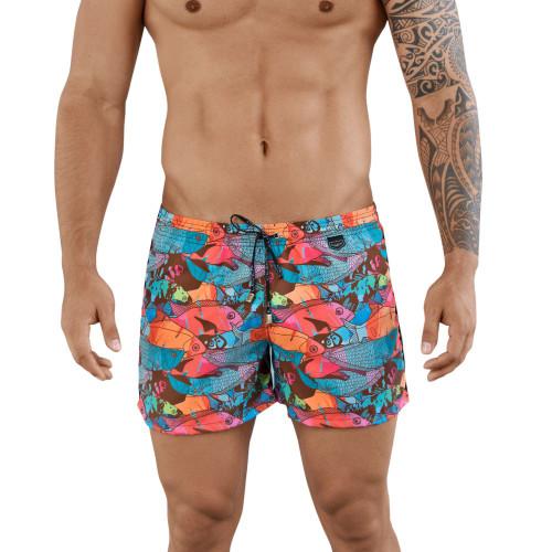 Mens Underwear - Front view of Clever Clover Athleta Swim Trunks - Mens Swimwear