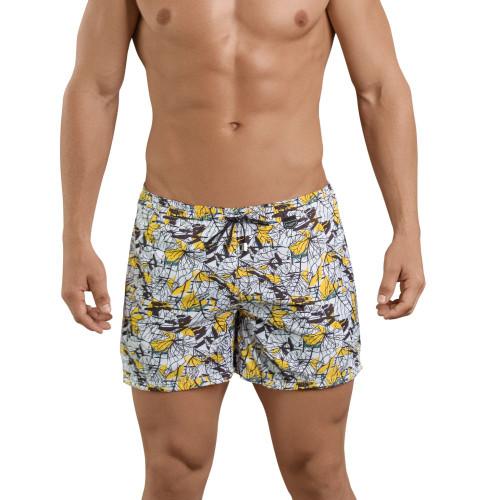 Mens Underwear - Front view of Leaves Atleta Swim Trunks - Mens Short Style Swimming Trunks