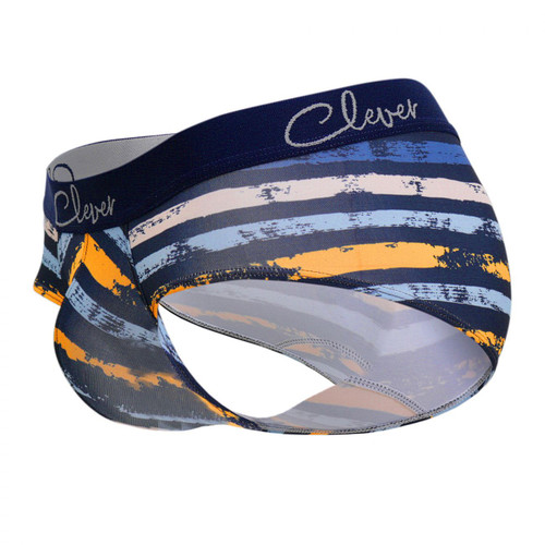 Mens Underwear - Front view of Clever Augusto Classic Briefs - Sophisticated Striped Mens Brief