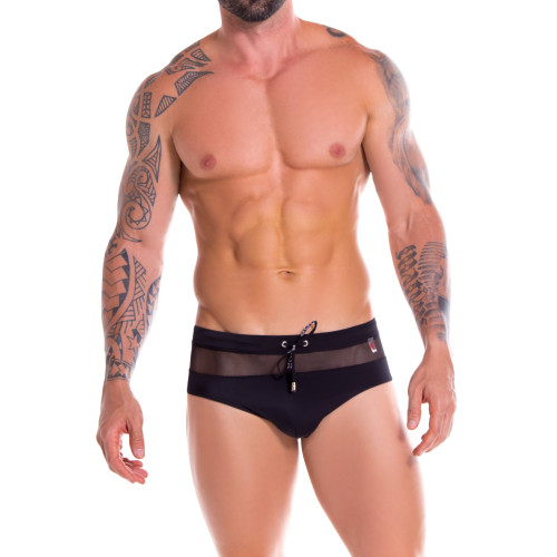 Mens Underwear - Front view of JOR Mesh Swim Trunks - Mens Swimwear with See-Through Mesh Strip