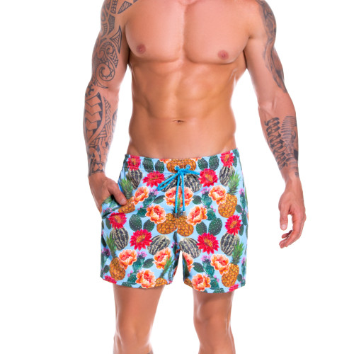 Mens Underwear - Front view of JOR Arrecife Cactus Swim Trunks - Long Leg Swim Shorts