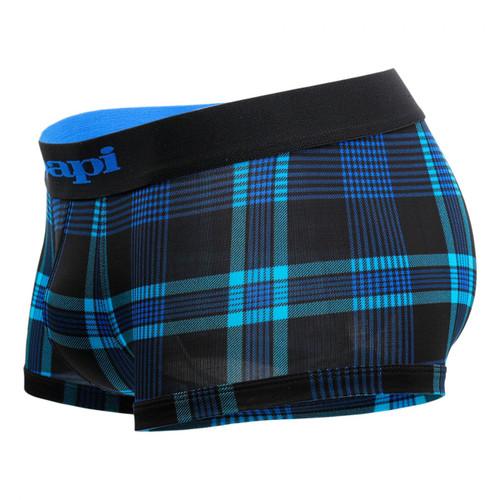 Mens Underwear - Front view of Papi Underwear Cool 2 Plaid Brazilian Trunks 2 Pack - Black / Plaid