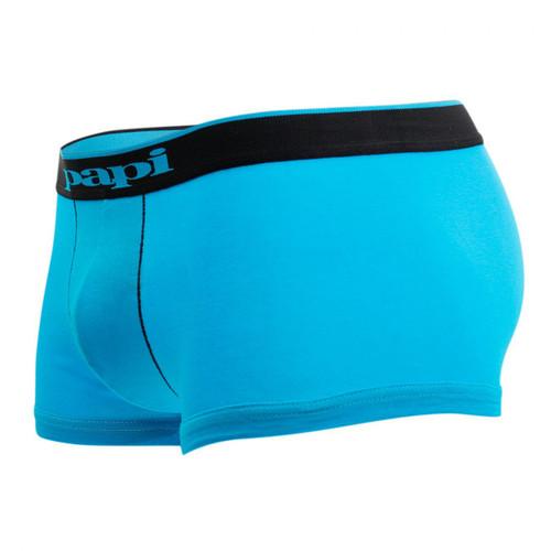 Mens Underwear - Front view of Papi Underwear Cotton Stretch Brazilian Trunk 3 Pack - Black / Turquoise / Stripe