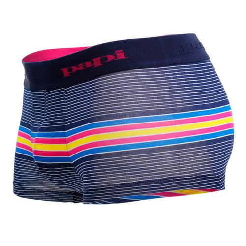 Mens Underwear - Front view of Papi Underwear Beachside Stripes Brazilian Trunks 2 Pack - Blue / Navy