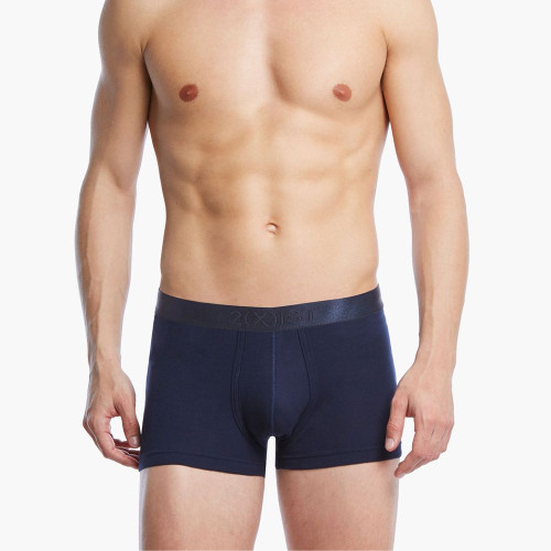 2(X)IST Mens Underwear Pima Cotton Trunk in Navy - Front