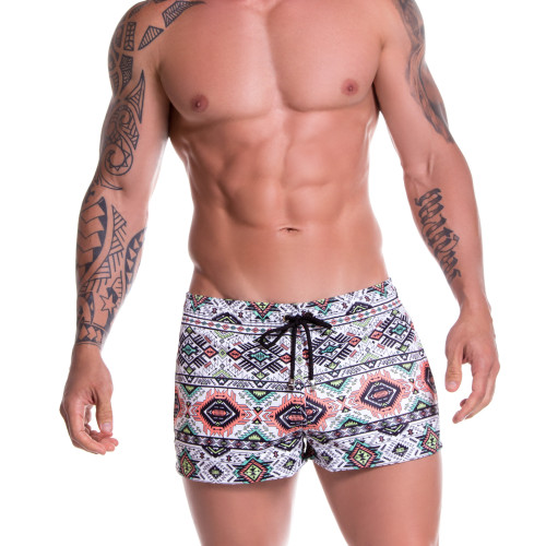 Mens Underwear - Front view of JOR Swimwear Tribal Mini Short - Tribal Patterned Mens Swimwear