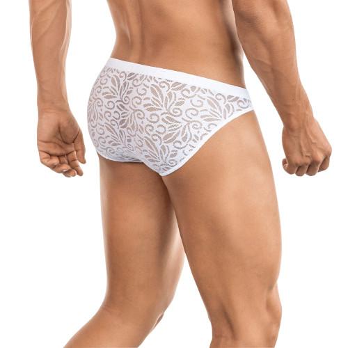 Mens Underwear - Front view of Clever Underwear Wish Briefs - Sexy See-through Mesh Lace Briefs
