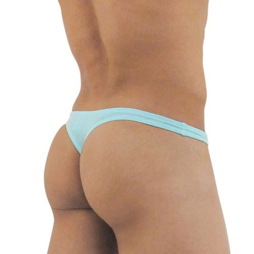 Ergowear Mens Underwear - X3D Modal Mens Thong in Aqua - Ergonomic Pouch Underwear - Rear