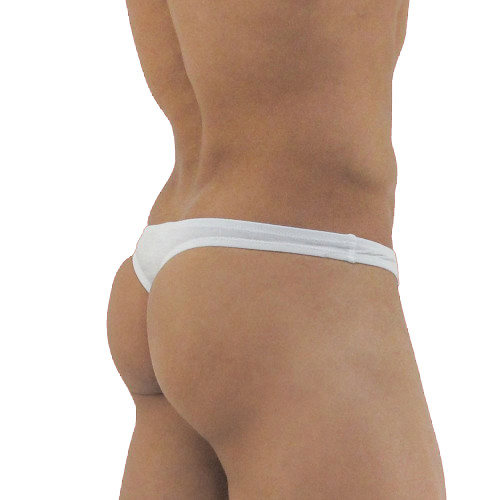 Ergowear Mens Underwear - X3D Modal Mens Thong in White - Ergonomic Pouch Bulge Underwear - Rear