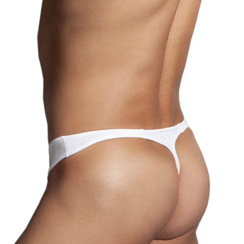Mens Underwear - Front view of Doreanse Hang-loose Thong in White - Mens Modal Thong