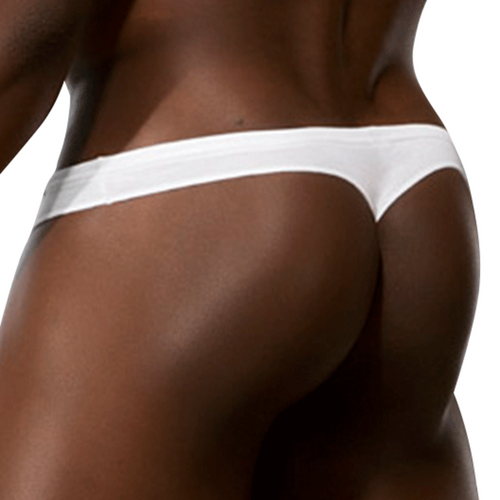 Mens Underwear - Front view of Doreanse Euro Thong in White - Male Thong Underwear