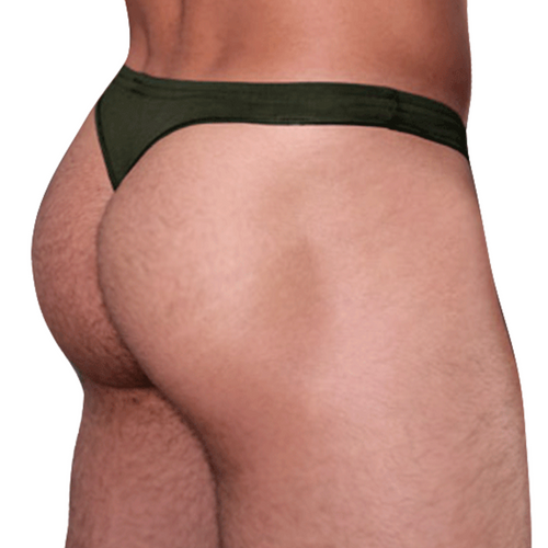 Mens Underwear - Front view of Doreanse Euro Thong in Army Green - Male Thong