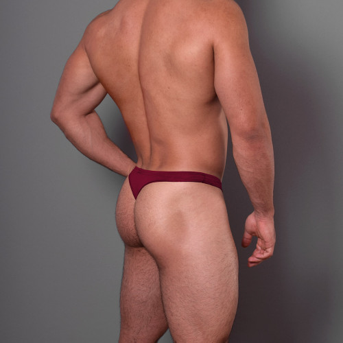Mens Underwear - Front view of Doreanse Euro Thong in Bordeaux Red - Mens Thong