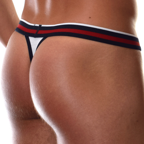 Mens Underwear - Front view of Doreanse Metro Thong in White - Male Thong Underwear