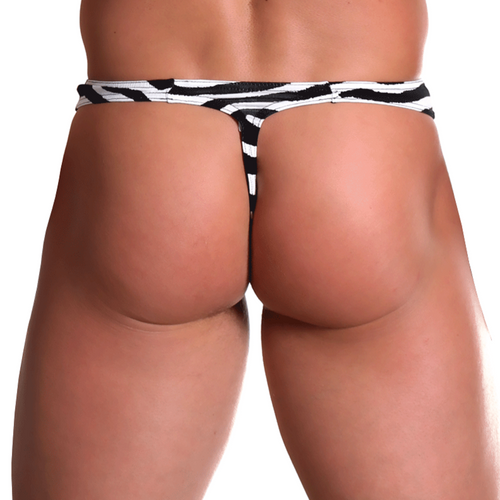 Mens Underwear - Front view of Doreanse Zebra Thong - Animal Print Male Thong