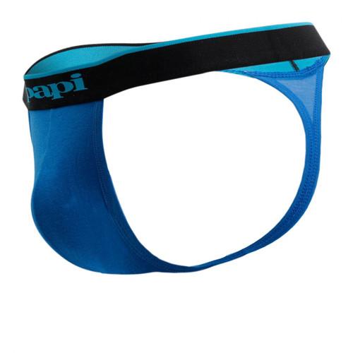 Mens Underwear - Front view of Papi Underwear Cotton Stretch Thong 3 Pack - Black / Blue / Cobalt