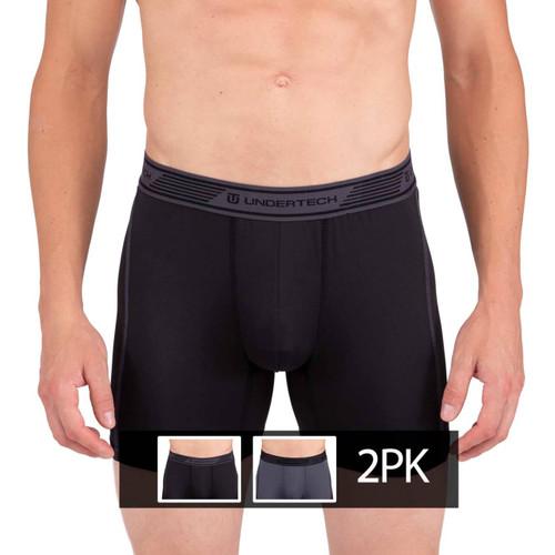 Mens Underwear - Front view of Undertech Sports Mesh Boxer Briefs 2 Pack - Black / Grey