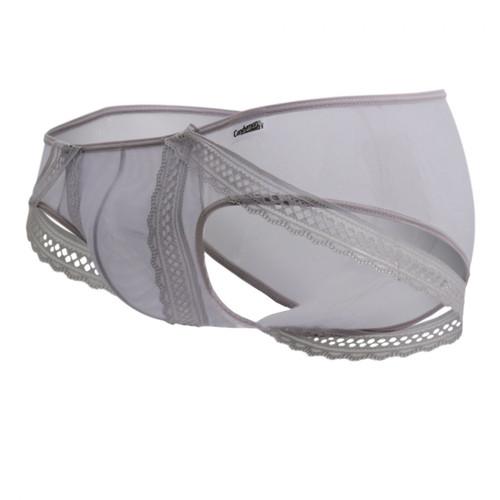 Mens Underwear - Front view of CandyMan Underwear Lace Strap Briefs - Mens Sheer Lingerie