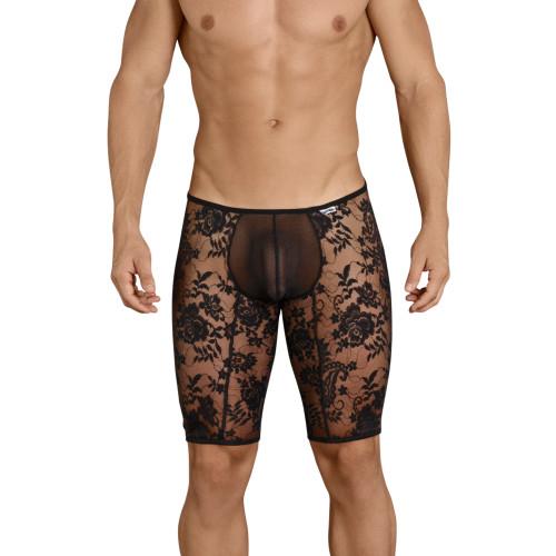 Mens Underwear - Front view of CandyMan Sheer Mesh Lace Zipper Boxer Briefs - Mens Sexy Underwear