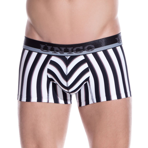 Mens Underwear - Front view of Unico Underwear Blocks Trunk - Boxer Brief Style Mens Underwear