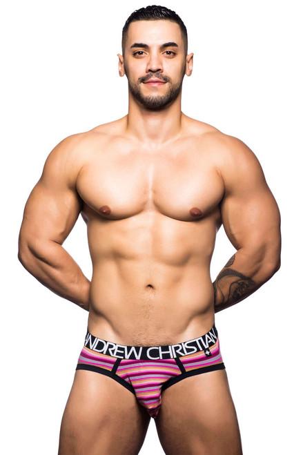Men's Underwear - Front view of Riviera Fuchsia Stripe Brief by Andrew Christian