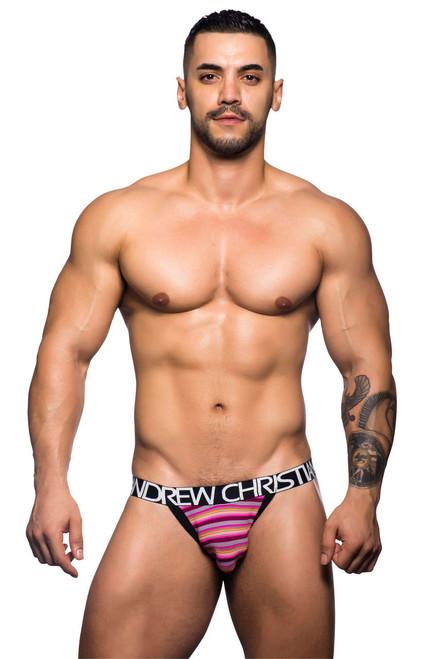 Men's Underwear - Front view of Riviera Fuchsia Stripe Jock by Andrew Christian