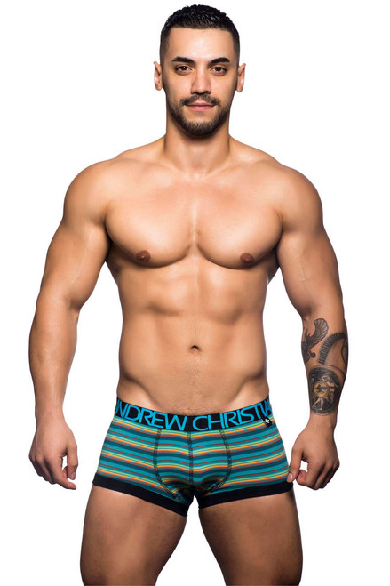 Men's Underwear - Front view of Riviera Aqua Stripe Jock by Andrew Christian