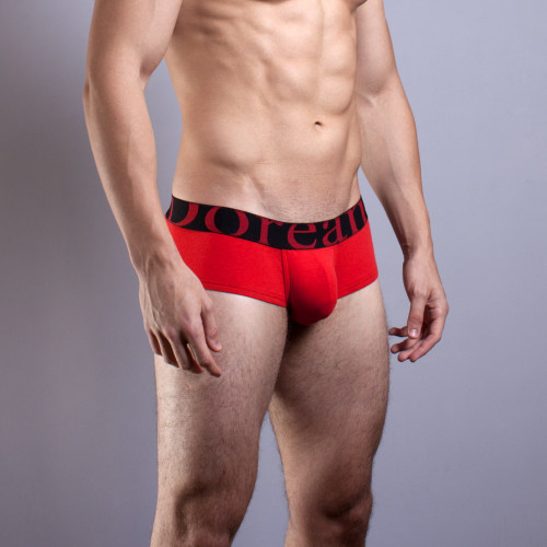 Mens Underwear - Front view of Doreanse Red Pouch Mini Trunk - Naturally Enhancing Mens Underwear