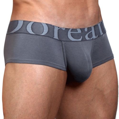 Mens Underwear - Front view of Doranese Smoke Grey Pouch Trunk - Enhancing Mens Underwear