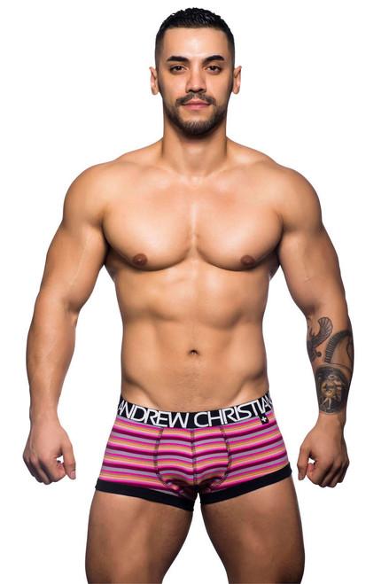 Men's Underwear - Front view of Riviera Fuschia Stripe Boxer by Andrew Christian