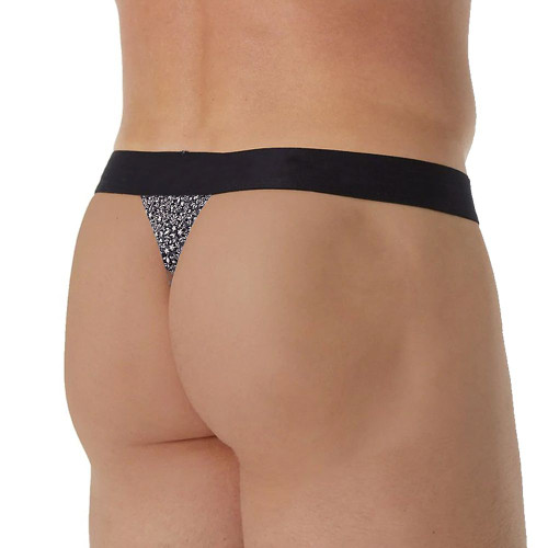 Mens Underwear - Front view of Papi Underwear Versailles Thongs in White  - Male Thong Style Underwear